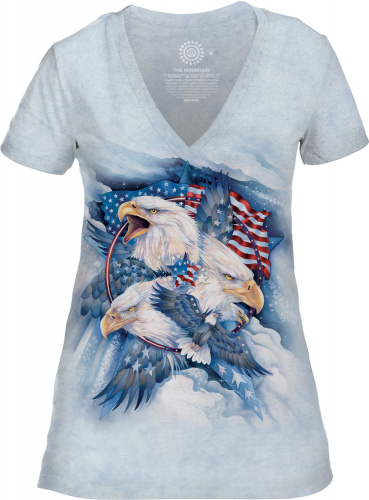 Tee-shirt femme motif Oiseau avec col en V - T-shirt Oiseau