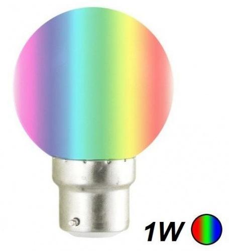 Ampoule Led 1W b22 couleurs RBG automatique guirlande guinguette