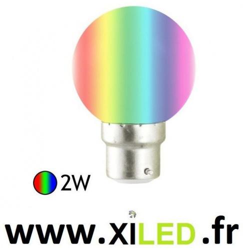Ampoule Led 2W B22 7 couleurs RBG automatique
