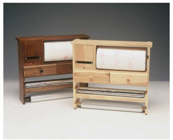Dévidoir bois multi-services teinté noyer - abc meubles
