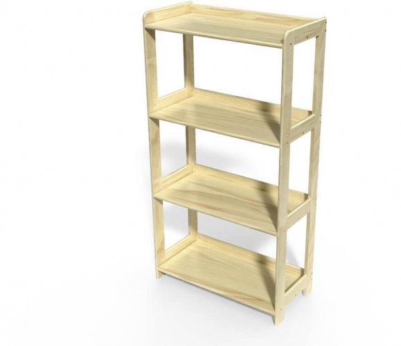 Étagère bois euro spécial 4 tablettes vernis naturel - abc meubles