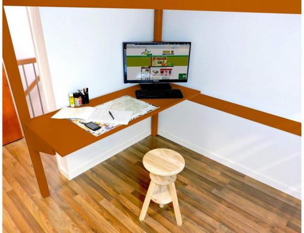 Bureau tablette chocolat largeur 90 - abc meubles