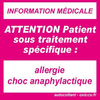sticker allergie choc anaphylactique