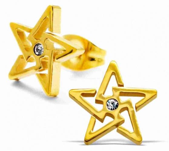 Mon-bijou - H29501 - Boucle d'oreille étoile doré en acier inoxydable