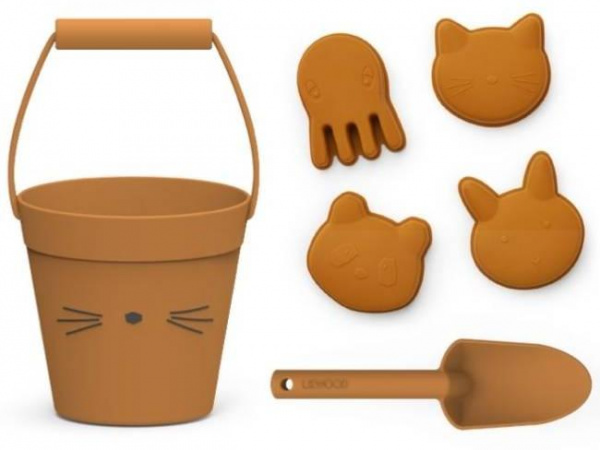 Jouets de plage, silicone : chat, moutarde