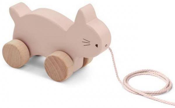 Jouet en bois à tirer: chat, rose - Liewood