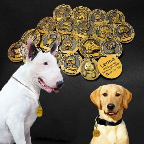 Médaille race de chien doré relief