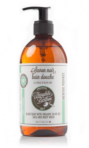 Le Savon Noir Liquide Corporel. Parfum Menthe Poivrée. Surgras. 500ml