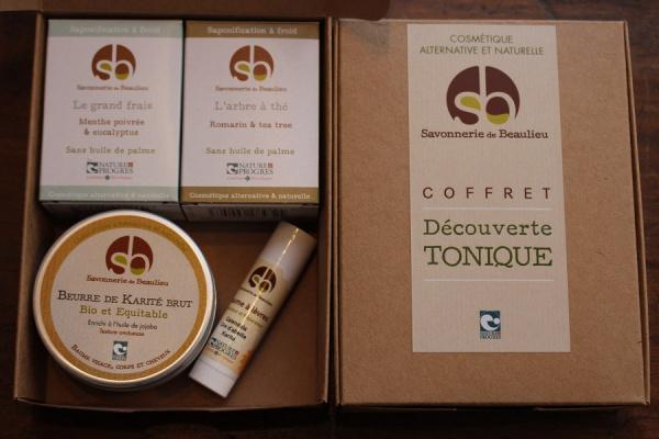 Coffret DECOUVERTE - TONIQUE - savons, beurre de karité, baume à lèvres
