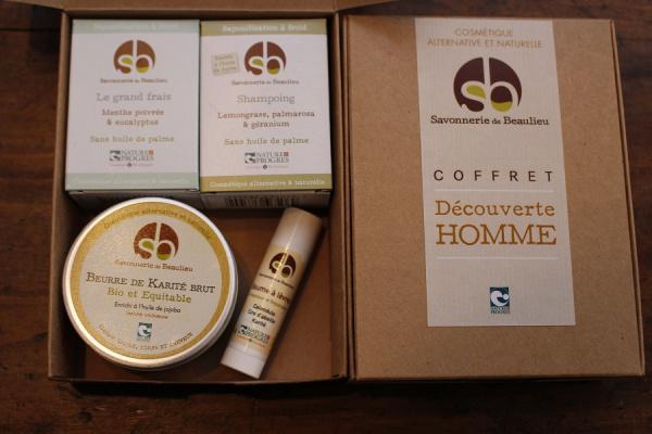 Coffret DECOUVERTE - HOMME - savons, beurre de karité, baume à lèvres